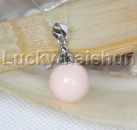 14mm round beads light pink south sea shell pearls necklace pendant j12985