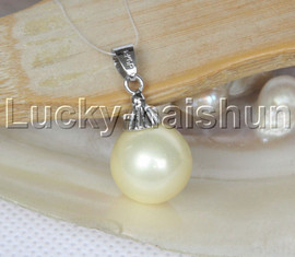 Amazing 14mm round beads yellow south sea shell pearls necklace pendant j12986
