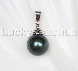 14mm round beads Tahitian black south sea shell pearls necklace pendant j12987