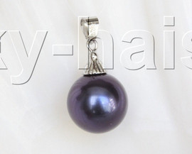 16mm round beads navy blue south sea shell pearls necklace pendant j12997