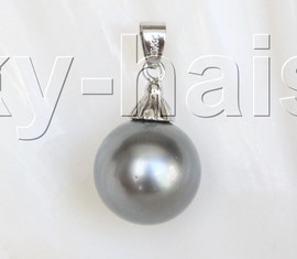 16mm round beads dark gray south sea shell pearls necklace pendant j12998