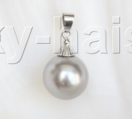 16mm round beads light gray south sea shell pearls necklace pendant j13000
