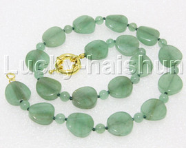 """Genuine 18"""" 16mm coin twist green jade necklace gold plated clasp j13033"""