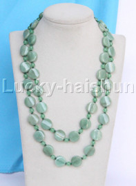"""Genuine 36"""" 6mm 16mm coin twist green jade necklace gold plated clasp j13034"""
