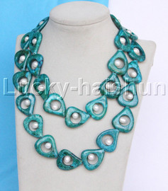 """Genuine 38"""" 29MM 10mm GREEN MALACHITE WHITE PEARL NECKLACE gold plated clasp j13035"""