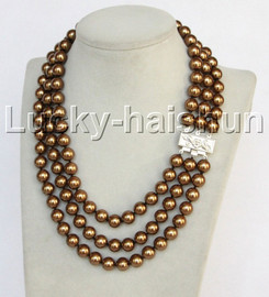 """Genuine 17""""-19"""""""" 3row 10mm round coffee south sea shell pearls beaded necklace 18KGP clasp j13037"""
