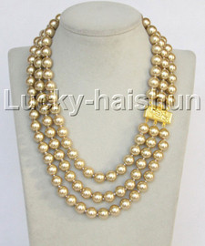 """Genuine 17""""-19"""""""" 3row 10mm round champagne south sea shell pearls beaded necklace 18KGP clasp j13039"""