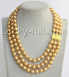 """Genuine 17""""-19"""""""" 3row 10mm round golden yellow south sea shell pearls necklace 18KGP clasp j13040"""