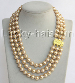 """Genuine 17""""-19"""""""" 10mm round light champagne south sea shell pearls necklace j13041"""
