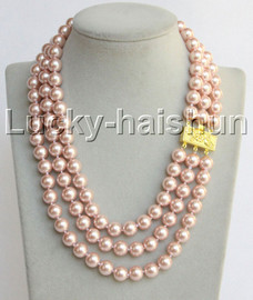 """Genuine 17""""-19"""""""" 3row 10mm round pink south sea shell pearls necklace 18KGP clasp j13042"""