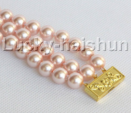 "Genuine 8"" 3row 10mm round pink south sea shell pearls beaded bracelet j13043"
