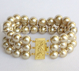 """8"""" 3row 10mm round champagne south sea shell pearls beaded bracelet j13044"""