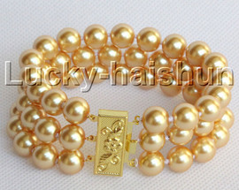"""8"""" 3row 10mm round golden yellow south sea shell pearls bracelet j13045"""