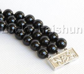 "8"" 3row 10mm round black south sea shell pearls beaded bracelet j13046"