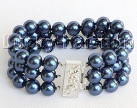 "8"" 3row 10mm round blue south sea shell pearls beaded bracelet j13047"