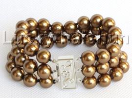 "8"" 3row 10mm round coffee south sea shell pearls bracelet j13048"