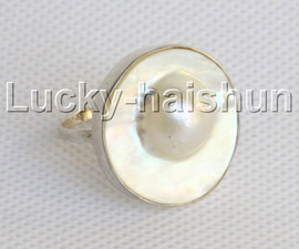 natural 24mm bleb white South Sea Mabe Pearls Rings 925 silver USA 8# j13051