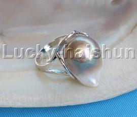 AAA adjustable 15X20mm luster purple Reborn keshi pearls Rings 925 silver j13091