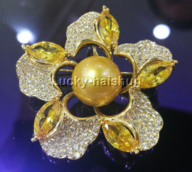 """AAA 2"""" flower 12mm golden South Sea pearls zirconia crystal Brooch Yellow Gold Filled j13093"""
