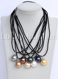 "17""-18"""" 18mm round white pink black gray coffee navy blue south sea shell pearls pendant necklace j13094"