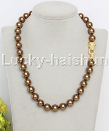 """AAA 18"""" 12mm round coffee south sea shell pearls necklace leopard clasp j13096"""