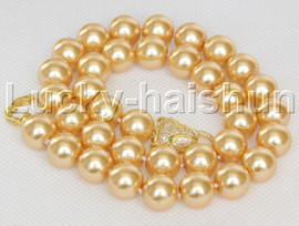"""AAA 18"""" 12mm round golden south sea shell pearls necklace leopard clasp j13097"""