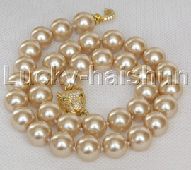 """AAA 18"""" 12mm round champagne south sea shell pearls necklace leopard clasp j13098"""