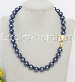 """AAA 18"""" 12mm round navy blue south sea shell pearls necklace leopard clasp j13099"""