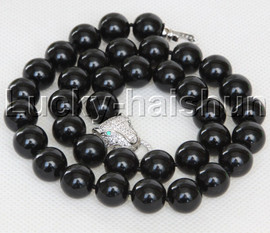 """AAA 18"""" 12mm round black south sea shell pearls necklace leopard clasp j13100"""
