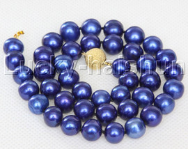 """17.5"""" 11mm round navy blue freshwater pearls necklace filled gold clasp j13102"""