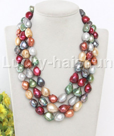 """16"""" 3row 17mm Multicolor freshwater pearls necklace seashell clasp j13105"""