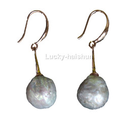 Super Luster 12mm Dangle round white Reborn keshi pearls Earrings 925 silver hook j13110