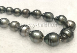 Authentic Baroque 16mm 100% black Tahitian pearls necklace 14K solid gold clasp j13113