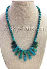 AAA natural Baroque round green chrysocolla necklace 18KGP j13115A30