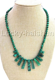 AAA natural Baroque round green malachite necklace 18KGP j13116A30