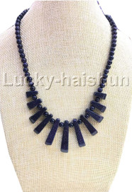 AAA natural Baroque round Blue Sand Stone necklace 18KGP j13117A30