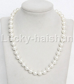 """AAA 18"""" 10mm white south sea shell pearls necklace 18KGP clasp j13122"""