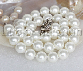 """AAA 18"""" 12mm white south sea shell pearls necklace 18KGP clasp j13123"""