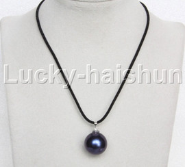 AAA 20mm round navy blue south sea shell pearls pendant necklace j13131