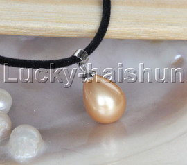 """AAA 18"""" 12*15mm drip golden south sea shell pearls pendant necklace j13133"""