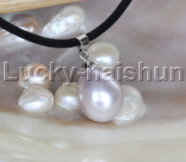 """AAA 18"""" 12*15mm drip lavender south sea shell pearls pendant necklace j13135"""