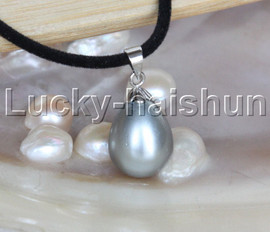 """AAA 18"""" 12*15mm drip gray south sea shell pearls pendant necklace j13136"""