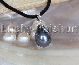 """AAA 18"""" 12*15mm drip peacock black south sea shell pearls pendant necklace j13137"""