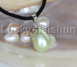 """AAA 18"""" 12*15mm drip light green south sea shell pearls pendant necklace j13138"""