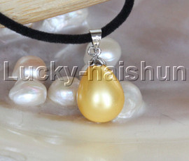 """AAA 18"""" 12*15mm drip golden south sea shell pearls pendant necklace j13139"""