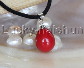 """AAA 18"""" 12*15mm drip red south sea shell pearls pendant necklace j13140"""