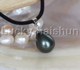 "AAA 18"" 12*15mm drip Tahitian black south sea shell pearls pendant necklace j13141"