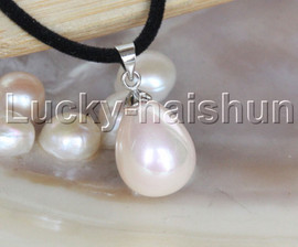 """AAA 18"""" 12*15mm drip pink south sea shell pearls pendant necklace j13142"""