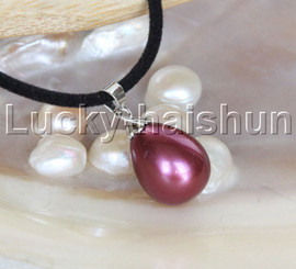 """AAA 18"""" 12*15mm drip wine red south sea shell pearls pendant necklace j13143"""