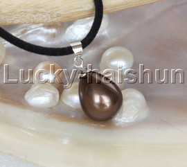 """AAA 18"""" 12*15mm drip coffee south sea shell pearls pendant necklace j13145"""